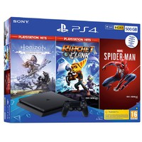 PlayStation PS4 500GB Slim Hits Bundle: Spider-Man+ Horizon Zero Dawn Complete Edition + Ratchet&Clank